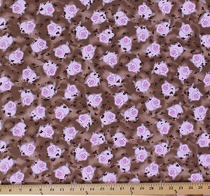 Cotton Green Farms Cute Pigs Animals Mud Cotton Fabric Print by the Yard 5167-70