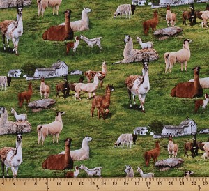 Cotton Farm Animals Realistic Llamas Cotton Fabric Print by the Yard 444 Green