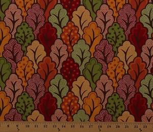 Cotton Moda Neco Foliage Leaves Autumn Fall Fabric Print ...