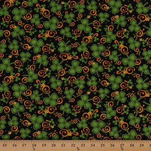 Cotton Lucky Shamrocks and Scrolls Saint Patrick's Day Black Cotton Fabric Print by the Yard (1649-24220-j)