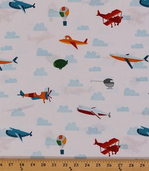 Cotton on the go air planes blimp hot air balloons for Airplane print cotton fabric