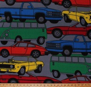 Fleece Multi-Colored Vintage Cars Vans Trucks on Gray Vehicles Classics Antiques Transportation Way Fleece Fabric Print by the Yard DT-6156-MA-1multi