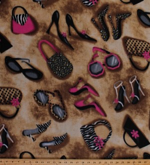 Fleece Fashionista Shoes Purses Bags Sunglasses Pink Leopard Print Fashion Fleece Fabric Print by the Yard 23578-1