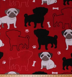 Fleece Pugs Dogs Outlines Silhouettes Bones Paws Paw Prints Pawprints Puppy Puppies Animals Pets Red Oh My Pugness Fleece Fabric Print by the Yard (DT-6103-MA-1RED)