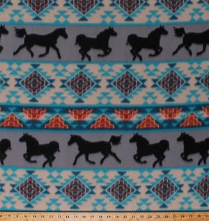 Fleece Southwestern Stripes Horses Equestrian Animals Turquoise Gray Orange Native American Aztec Tribal Spirit of the Southwest Striped Fleece Fabric Print by the Yard (DT-5367-DB-6GRAY/TURQ)