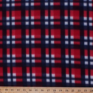Fleece Patriotic Red White and Blue Plaid Fleece Fabric Print by the Yard 3505S-12n