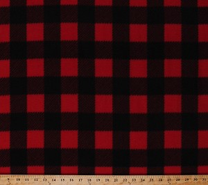 Fleece Buffalo Plaid Red Black Checks Checkers Checkered Squares Fleece Fabric Print by the Yard (233813-MA-2BLACK/RED)