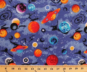 Cotton universe planets solar system stars outer space for Space fabric by the yard