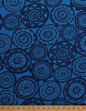 Cotton Home Decor Weight Circles Flowers Floral Botanical Blue Upholstery Fabric By the Yard (HDEM03-MIDNIGHT)