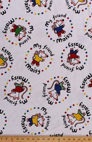 Flannel my friend maisy mouse mice on white kids flannel for Children s flannel fabric by the yard