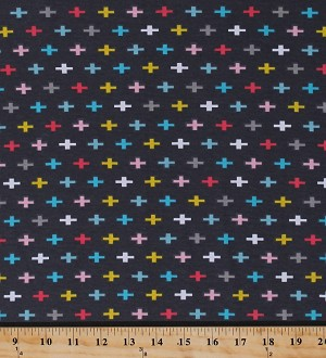 "58"" Cotton Jersey Knit Remix Swiss Cross Crosses Multi on Grey Knit Fabric By the Yard (AAK-15227-12 Grey)"