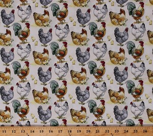 Cotton Chickens Roosters Hens Chicks Barnyard Fowl Farm Animals Birds Country Farmers Farming Poultry The Hen House White Cotton Fabric Print by the Yard (43908-1)