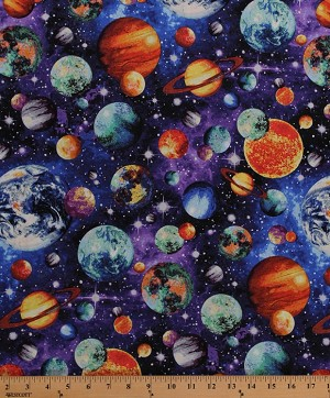 Cotton Planets Earth Solar System Jupiter Mars Saturn Neptune Galaxy Galaxies Universe Stars Outer Space Astronomy Out of this World Multi-color Cotton Fabric Print by the Yard (FP7109-542)