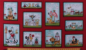 "23.5"" X 44"" Panel No Fowl Play Animals Comic-Look Birds Chickens Ducks Flamingos Cockatoos Cats Dogs Mice Yarn Balls Clouds Squares Frames on Red Cotton Fabric Panel (8711-88)"