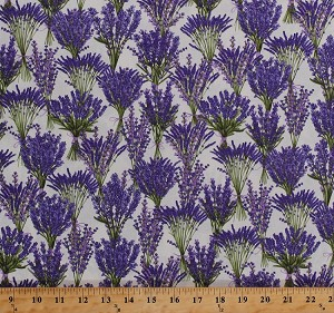 Cotton Lavender Bouquets Bundles Purple Flowers Herbs Herbaceous Floral Plants Garden Gardening Botanical Cream Cotton Fabric Print by the Yard (FLEUR-C5375-CREAM)
