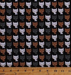 Cotton Cats Cute Kitties Kitty Kittens Feline Animals Pets Suzy's Minis Kids Cotton Fabric Print by the Yard (ASD-16323-2BLACK)