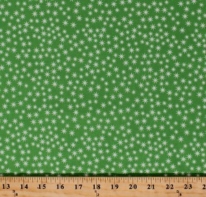 Cotton Sparkles Snowflakes Stars Lights Holidays Winter Festive Green Christmas Cheer Patrick Lose Cotton Fabric Print by the Yard (62489-6470715)
