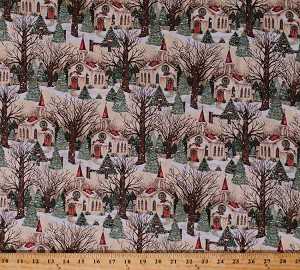 Cotton Christmas Churches Church Buildings Wreaths Holiday Decorations Pine Trees Snow Snowy Scene Christmas Village Scenic Cotton Fabric Print by the Yard (64474-A620715)