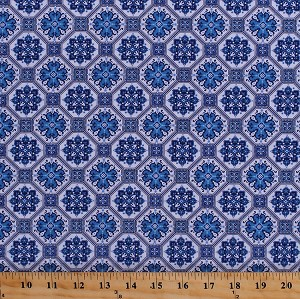 Cotton Flowers Floral Tiles Tile Design Geometric Blue Rhapsody White Cotton Fabric Print by the Yard (8713-007-wht/blue)