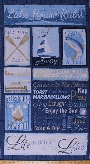 "23.5"" X 44"" Panel Lake House Rules Camping Vacation Fish Fishing Sunset Campfire Waves Water Sun Sailboat Boats Oars Vacationing Summer Fun Words Cabin Family Lake Life Nautical Blue Cotton Fabric Panel (LAKE-C4739-BLUE)"