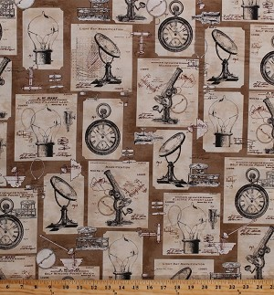 Cotton Science History Scientist Scientific Inventions Blueprints Microscopes Pocket Watch Light Bulbs Lightbulbs Objects Sepia Vintage Cotton Fabric Print by the Yard (ATR-16339-271SEPIA)