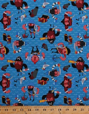 "60"" Cotton Baby Redbeard Pirates Treasure Jake and the Neverland Pirates Kids Blue Cotton Fabric Print by the Yard (4075H-5A)"