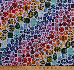 Cotton Hoffman Challenge 2018 Jewels Gems Gemstones Precious Stones Diamonds Rubies Emeralds Sapphires Colorful Rainbow Multi-Colored Jewelry Jewellery Jewelers Shine On! Main Print White Digital Cotton Fabric Print by the Yard (Q4429-633-PRISM)