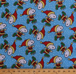 Cotton Snoopy Ice Skating Peanuts Comics Character Snow Winter Charlie Brown Christmas Holidays Light Blue Cotton Fabric Print by the Yard (CP1027-542)