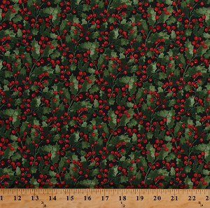 Cotton Holly Leaves Berries Red Berry Ivy Leaf Winter Christmas Festive Holiday Traditions Green Cotton Fabric Print by the Yard (41693-1)