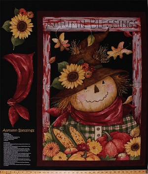 "36"" X 44"" Panel Jolly Scarecrow Harvest Oak Leaves Sunflowers Pumpkins Indian Corn Apples Farm Country Thanksgiving Holiday Fall Autumn Blessings Cotton Fabric Panel (58731-A620715)"