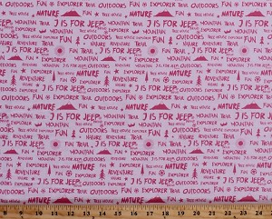 Cotton Camping Words Phrases Mountains Sun Trees Birds Stars Font Nature Explorer Outdoors Vacation Roadtrip Travel Pink J is for Jeep® Cotton Fabric Print by the Yard (C6464-Pink)
