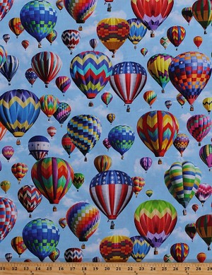 Cotton hot air balloons ballooning balloon festival for Airplane print cotton fabric