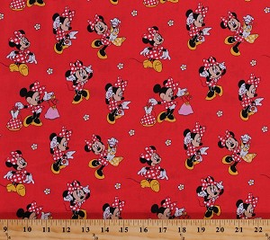 Cotton minnie loves dresses minnie mouse shopping clothes for Children s clothing fabric by the yard