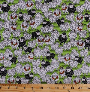 Cotton Sheep Lambs Farm Animals Flocks Pastures Fields Country Flowers Knitting Needles Knitters Rural Black White Green Knit Happy Cotton Fabric Print by the Yard (1079-66)