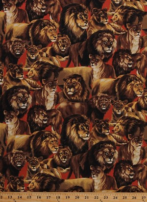 Cotton Living Wonders Lion Wild Animals Lions on Red Cotton Fabric Print by the Yard (112-24861)