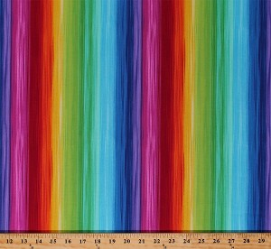 Cotton Prism Rainbow Colors Parallel Stripes Cotton Fabric Print by the Yard (PRISM-C5390-MULTI)
