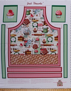 "34.75"" X 44"" Panel Just Desserts Baking Cookery Gourmet Kitchen Utensils Cakes Treats Chef Apron Cotton Fabric Panel (4082EQ-61232-100)"