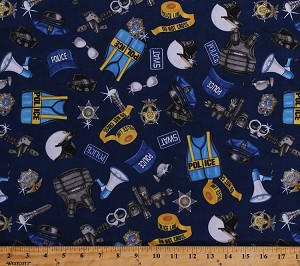 Cotton Police Officers Gear Badges Bulletproof Vests Flashlights Police Tape Helmets Duty Belts Handcuffs Guns Law Enforcement SWAT Cops Protect & Serve Blue Cotton Fabric Print by Yard (1649-26129-N)