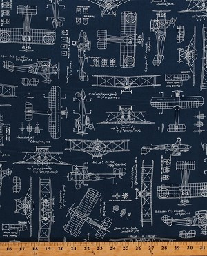 Cotton vintage airplane airplanes planes blueprints for Airplane print cotton fabric
