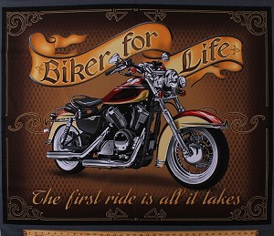 "35.5"" X 44"" Panel Motorcycle Bike Vehicle Transportation Biker For Life Brown Cotton Fabric Panel (1649-26015-X)"