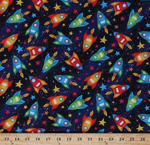 Cotton rockets spaceships rocket ships space shuttles for Space cotton fabric