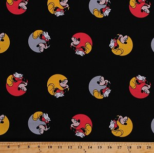 Cotton disney mickey mouse cartoon character in circles for Kids character fabric