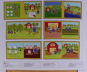 "35"" X 44"" Panel Apple Tree Farm Soft Book Farmers Farming Chores Farm Animals Kids Children's Cotton Fabric Panel (8836P-066GREEN)"