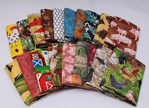10 Assorted Fat Quarters - Farm Farming Country Homestead Farmer Farms Ranch Orchard Farmhouse Animals Chickens Quality Quilters Cotton Fabrics M227.07