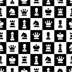 Chess Games Pieces Fleece Fabric Print by the Yard o26157b