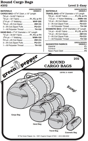 Round Cargo Bags #202 Duffel Gym Travel Cosmetic (Sewing Pattern Only)
