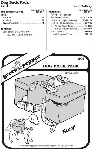 Dog Back Pack Bags #204 Sewing Pattern (Pattern Only)