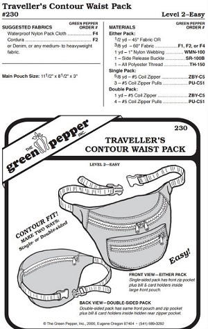 Traveler's Contour Waist Pack Bag #230 Sewing Pattern (Pattern Only)