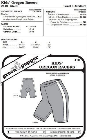 Children Kids Oregon Racers Biking Running Bicycle Shorts #410 Sewing Pattern (Pattern Only)