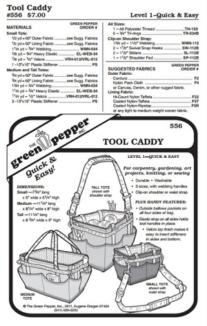 Gardeners' Artists' Carpenters' Seamstress' Knitters' Tool Caddy Bag Tote #556 Sewing Pattern (Pattern Only)